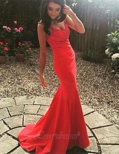 2016 Red Mermaid Long Prom Dresses Spaghettis Straps Ruched Long Simple Evening Gowns S416