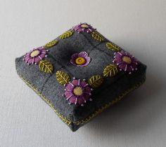 Custom Order for Patricia Colvin - Handmade Wool Purple Posies Square Pin Cushion
