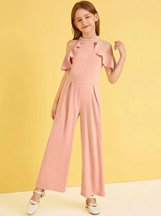 To find out about the Girls Pearl Beaded Cold Shoulder Ruffle Trim Pleated Jumpsuit at SHEIN, part of our latest Girls Jumpsuits ready to shop online today! Dresses Kids Girl, Kids Outfits Girls, Cute Girl Outfits, Cute Dresses, Girls Fashion Clothes, Tween Fashion, Girl Fashion, Fashion Dresses, Pleated Jumpsuit