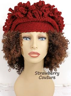 Linda Crochet Cloche Hat for Women in Spring in Cranberry Red, 4 Adult Size Options Cloche Hat Crochet Hat Womens Hat Womens Crochet Hat Steampunk Hat Avant Garde Hat Cranberry Hat LINDA Cloche Hat by strawberrycouture by on Crochet Hat For Women, Hat Crochet, Crocheted Hats, Crochet Art, Winter Hats For Women, Women Hats, Flapper Hat, Steampunk Hat, Fancy Hats