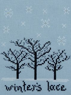 winter's lace cross-stitch pattern by holly devivo at misty hill studio    28 count pale blue linen...stitch count 72x86