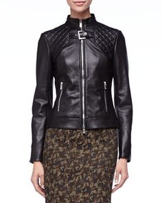 $698, Quilted Leather Jacket Michl Kors by Michael Kors. Sold by Neiman Marcus. Click for more info: http://lookastic.com/women/shop_items/113646/redirect