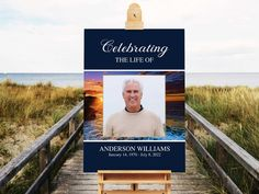Welcome Sign Celebration of Life Funeral Sign Poster Beach Ocean Memorial Service Welcome Sign Ideas Celebration of Life Decoration 18 x 24