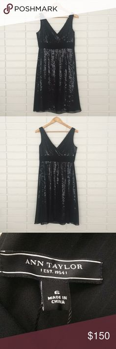 ✨NWT Ann Taylor Sequined Black V-neck Dress✨ ✨NWT Ann Taylor Sequined Black V-neck Dress✨ Size 6. Pristine condition! Such an elegant dress! Perfect for any formal occasion! Ann Taylor Dresses Midi