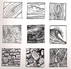 Ink Drawing Kinnon Elliott Illustration: Pen and Ink Texture Thumbnails Pencil Drawings, Art Drawings, Texture Drawing, Texture Sketch, Pencil Texture, Art Worksheets, Principles Of Art, Art Graphique, Pen Art