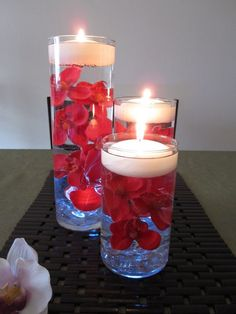Wedding Table Floating Candle Red Oichid Flower Cneterpiece - Tealight Votive Tall Glass Water Table Settings Decor