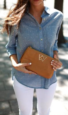 Chambray top and white jeans