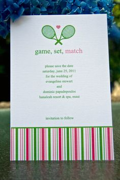 Save the Date Wedding Tennis Invitation Shower Invitation set of 10 by Belleza e Luce