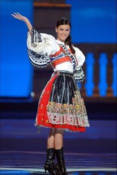 Czech folklore - national costume show - Miss Czech from Miss world. This costume is a traditional costume of Czech. They usually wear them in special ocasions or celebrating. In some families the costumes are kept generations from gernerations. Folklore, Costumes Around The World, Beautiful Costumes, Ethnic Dress, Folk Costume, Ethnic Fashion, World Cultures, Traditional Dresses, Czech Republic
