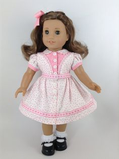 *******RESERVED  FOR S.  American Girl 18inch Doll by HFDollBoutique, using a K & R Vintage Pattern from 1949 in pink and white cotton fabrics, pink heart trim and white laces.