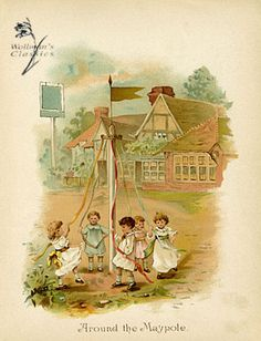 Wollmans Classic Prints - Antique prints, vintage prints, floral prints and lithographs :: Children prints :: Around the Maypole Antique Prints, Vintage Prints, Vintage Cards, Vintage Postcards, May Baskets, 1. Mai, Old Children's Books, May Days, Beltane