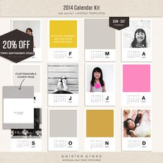 2014 Calendar Kit by Paislee Press