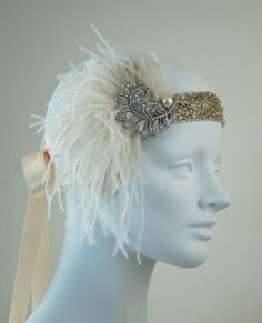 Peaches And Cream Ostrich Feather Flapper Headband Silver And Antique Gold.