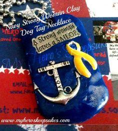 Navy Clay Charm Dog Tag Necklace by MyHerosKeepsakes on Etsy, $15.00