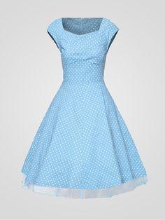 Square Neck Blended Polka Dot Vintage Skater Dress - fashionmeshop.com