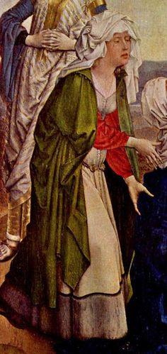Robert Campin, Crucifixion (detail), A narrow demicient belt with disc fittings. It would be nice to get a better detail of this one. Medieval Cloak, Medieval Life, Medieval Costume, Medieval Fashion, Medieval Clothing, Robert Campin, Turbans, Landsknecht, Dark Ages