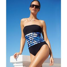 Calvin Klein Banded-Print Tummy Control One-Piece Swimsuit Women's Swimsuit featuring polyvore fashion clothing swimwear one-piece swimsuits black multi tummy control swimwear black swimsuit black one piece bathing suit 1 piece bathing suits one piece bathing suits