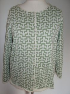 Vintage cardigan jacket merino wool mix by Daxon 80s 90s green and cream graphic print  size extra large by BidandBertVintage on Etsy