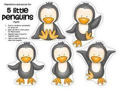 5 little penguins rhyme and characters for preschool