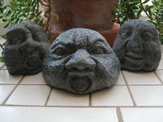 Rock Faces, Three Flower Pot Men Concrete. $19.95, via Etsy.