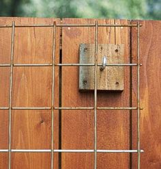 Build a Fence Trellis - with wire mesh, wood blocks and hooks! For my secret garden vines! Spring Garden, Lawn And Garden, Garden Art, Garden Design, Fence Garden, Fence Design, Garden Mesh, Garden Shrubs, Big Garden