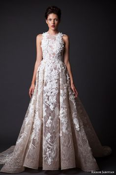 krikor jabotian fall 2014 2015 bridal couture amal sleeveless wedding dress flower applique