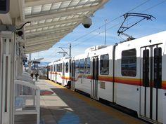 "Denver, Colorado. Denver's RTD Commuter Light Rail Train ""Nine Mile Station"" Near Parker Road and the"