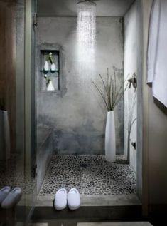 Concrete and pebble stone shower in a loft bathroom (via Delancey Street Loft) Concrete and pebble stone shower in a loft bathroom (via Delancey Street Loft) Loft Bathroom, Chic Bathrooms, Dream Bathrooms, Beautiful Bathrooms, Bathroom Interior, Modern Bathroom, Small Bathroom, Rain Shower Bathroom, Morrocan Bathroom