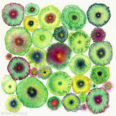 Blooms 5 Green - Giclée Canvas Print