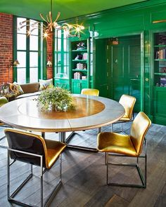 Green and gold dining room from Desite to Inspire. Get the look.