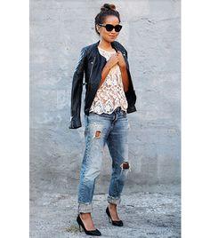 Leather jacket + boyfriend jeans + heels