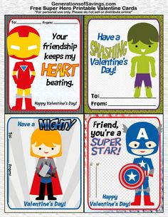 FREE Printable Superhero Valentine's Day Cards