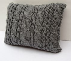 Hand Knit Pillow Accent Chair Decor Bulky Yarn by Vivamamere, $58.00