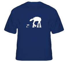 R2-D2 being chased by AT-AT ATAT t-shirt Sci-fi movie films
