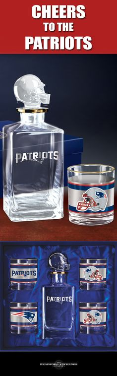 Raise a toast to your New England Patriots with a handsome 5-piece decanter set. This officially-licensed NFL barware set includes a crystal-clear decanter with a custom helmet topper, 4 team icon glasses rimmed in gleaming 12K gold and a satin-lined gift box.