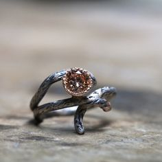 Silver Gold Branch Peach Ring - Sparkle Bark