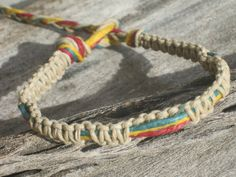 Rasta Macrame Bracelet Adjustable Red Gold & by Abundantearthworks, $6.25