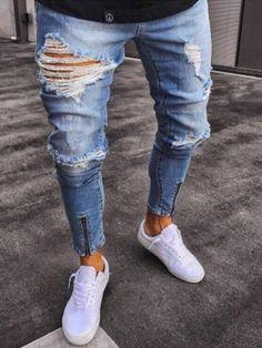 Hole Plain Slim Mens Denim Pencil Pants