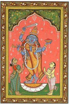 Krishna and Kali (Composite Image), Folk Art Watercolor on PattiArtist: Rabi Behera Kali Ma, Gold Eagle Coins, Indian Folk Art, Durga Puja, Krishna Wallpaper, Traditional Paintings, Indian Paintings, Sanskrit, Tantra