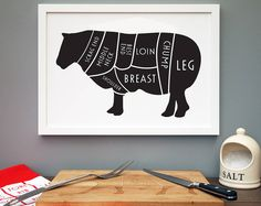 A delicious centrepiece for the family kitchen, This contemporary set of butcher's cuts of meat print is perfect for dad or gourmet chef! Lamb Cuts, Housewarming Present, Kitchen Prints, Duck Egg Blue, Cow Print, Paper Design, Tea Towels, Color Mixing, House Warming
