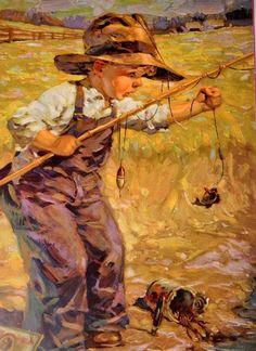 Soloillustratori: Raymond James Stuart Koi Art, Fish Art, James Stuart, Canvas Painting Quotes, Raymond James, Cottage Art, Applis Photo, Gone Fishing, Fishing Lures