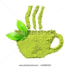 Powdered matcha green tea in cup shape - Shutterstock Premier