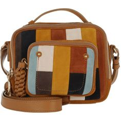 See By Chloé Shoulder Bag - Patti Crossbody Camera Bag Patchwork W... (5.534.620 IDR) ❤ liked on Polyvore featuring bags, handbags, shoulder bags, brown purse, brown handbags, brown suede purse, brown crossbody purse and brown crossbody