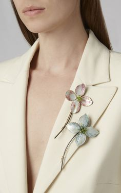 Luz Camino's 'Pink Dogwood Brooch' features a floral silhouette with pink and green enamel detailing and peridot embellishments. Pink Dogwood, White Shop, Clay Jewelry, Peridot, Brooch Pin, Pink And Green, Women Wear, Jewels, Orchid