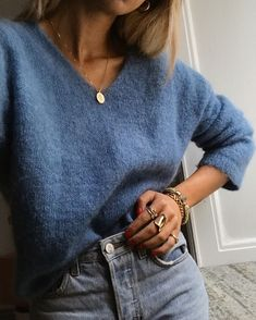 8d4a00dd18448 Cute periwinkle knit sweater with gray denim jeans.