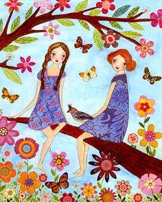 Summertime Sisters Art Print Large Poster Print 16 x par Sascalia