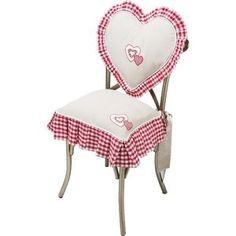 Coussin galette de chaise roses volant vichy rouge - Galette de chaise blanc ...