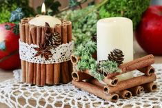 DIY Christmas Decorations: Tips On How To Create Winter Holiday Spirit Using Regular Candles Navidad Diy, Christmas Table Decorations, Christmas Candles, Diy Weihnachten, Craft Stick Crafts, Christmas Inspiration, Winter Holidays, Christmas Time, Cinnamon Sticks