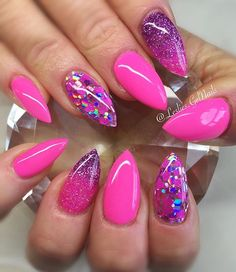 In search for some nail designs and ideas for your nails? Listed here is our list of 39 must-try coffin acrylic nails for trendy women. Pink Gel Nails, Glam Nails, Hot Nails, Purple Nails, Hair And Nails, Acrylic Nails, Beauty Nails, Pink Purple, Nail Art Designs