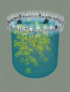 Screenprint - All in a circle, chairs levitating or falling. A nice blend of hand drawing and architectural software.